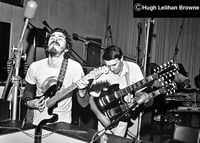 "Carlos Santana and John McLaughlin during the ""Love Devotion Surrender"" recording sessions."