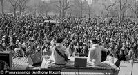 Carlos Santana and John McLaughlin performing a concert on behalf of Sri Chinmoy.